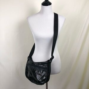 LeSportsac hobo solid black handbag with pouch